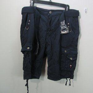 Blu Rock Men's Belted Cargo Shorts - Navy W 36